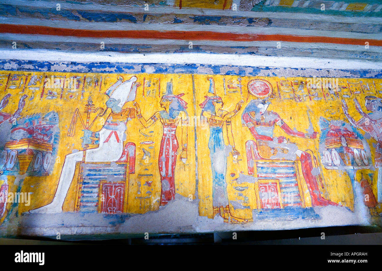 Colorful wall paintings inside the Tomb of Nefer Ronpet at the Tombs ...