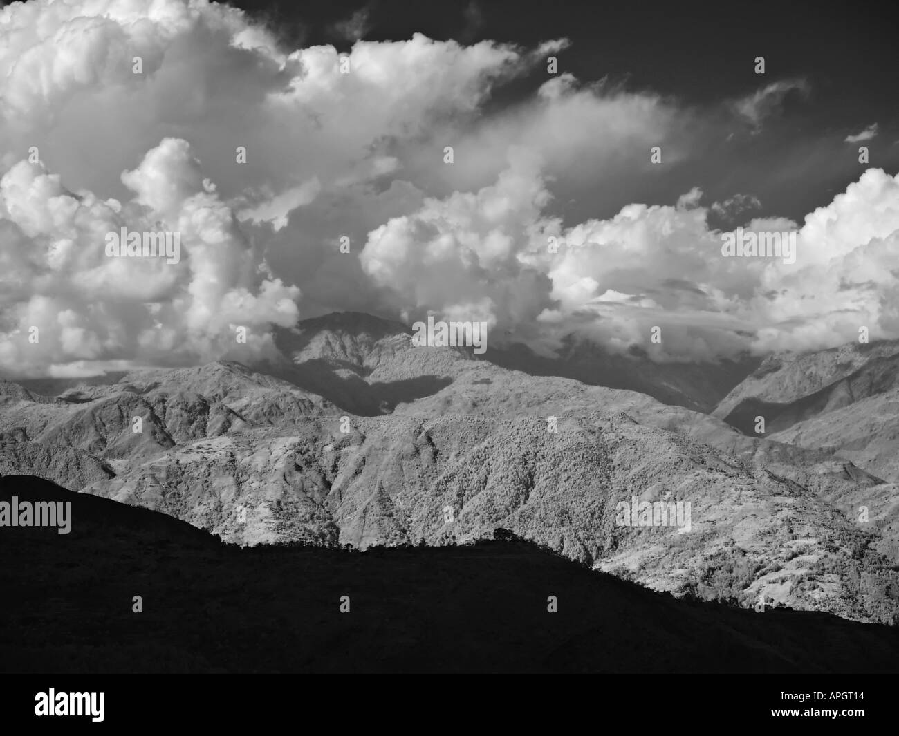 View over the Himalayan foothills and mountains from Nagarkot Kathmandu valley Nepal - Stock Image