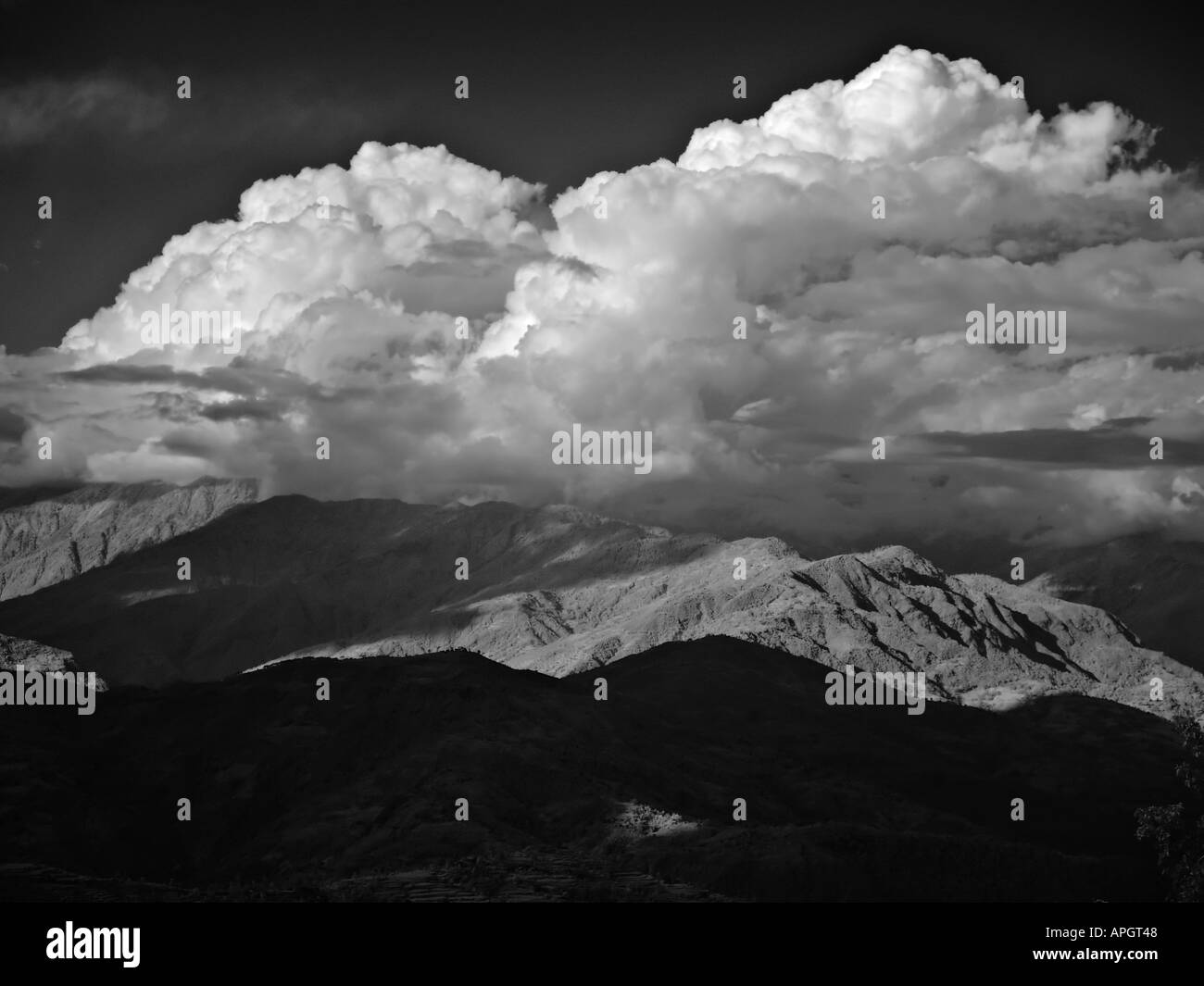 View over the Himalayan foothills and mountains from Nagarkot Kathmandu valley Nepal Stock Photo