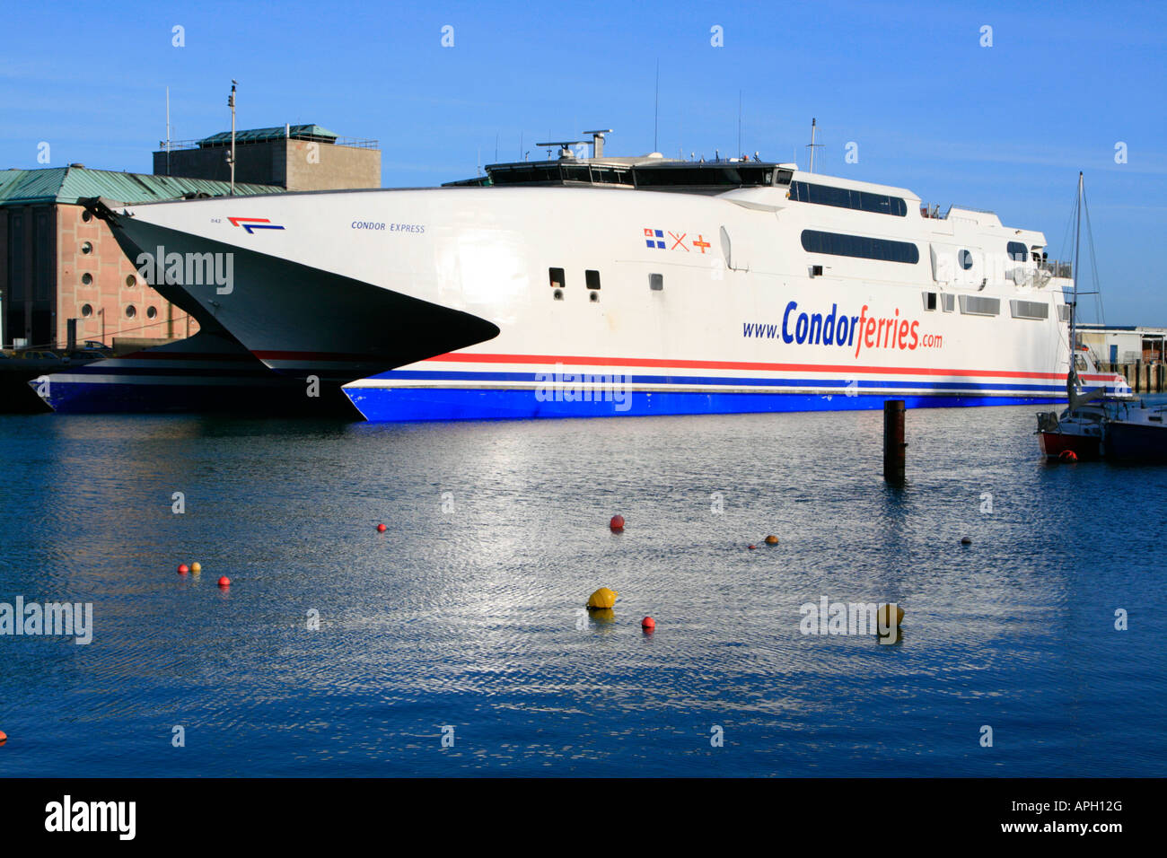 condor shipping seacats hydrofoil ferry in weymouth harbour, dorset