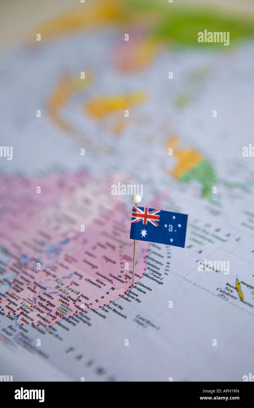 Flag pin placed on world map in brisbane australia stock photo flag pin placed on world map in brisbane australia gumiabroncs Images