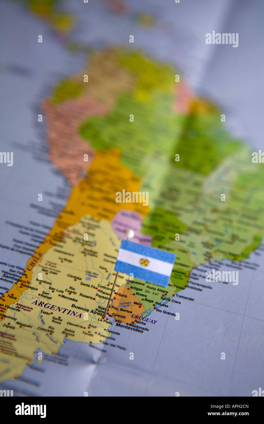 Where Is Buenos Aires On A World Map.Flag Pin Placed On World Map In The Capital Of Argentina Buenos