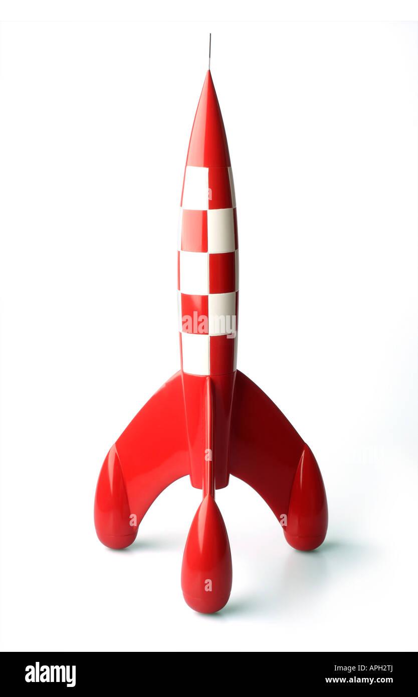 Retro moon rocket isolated on white background - Stock Image