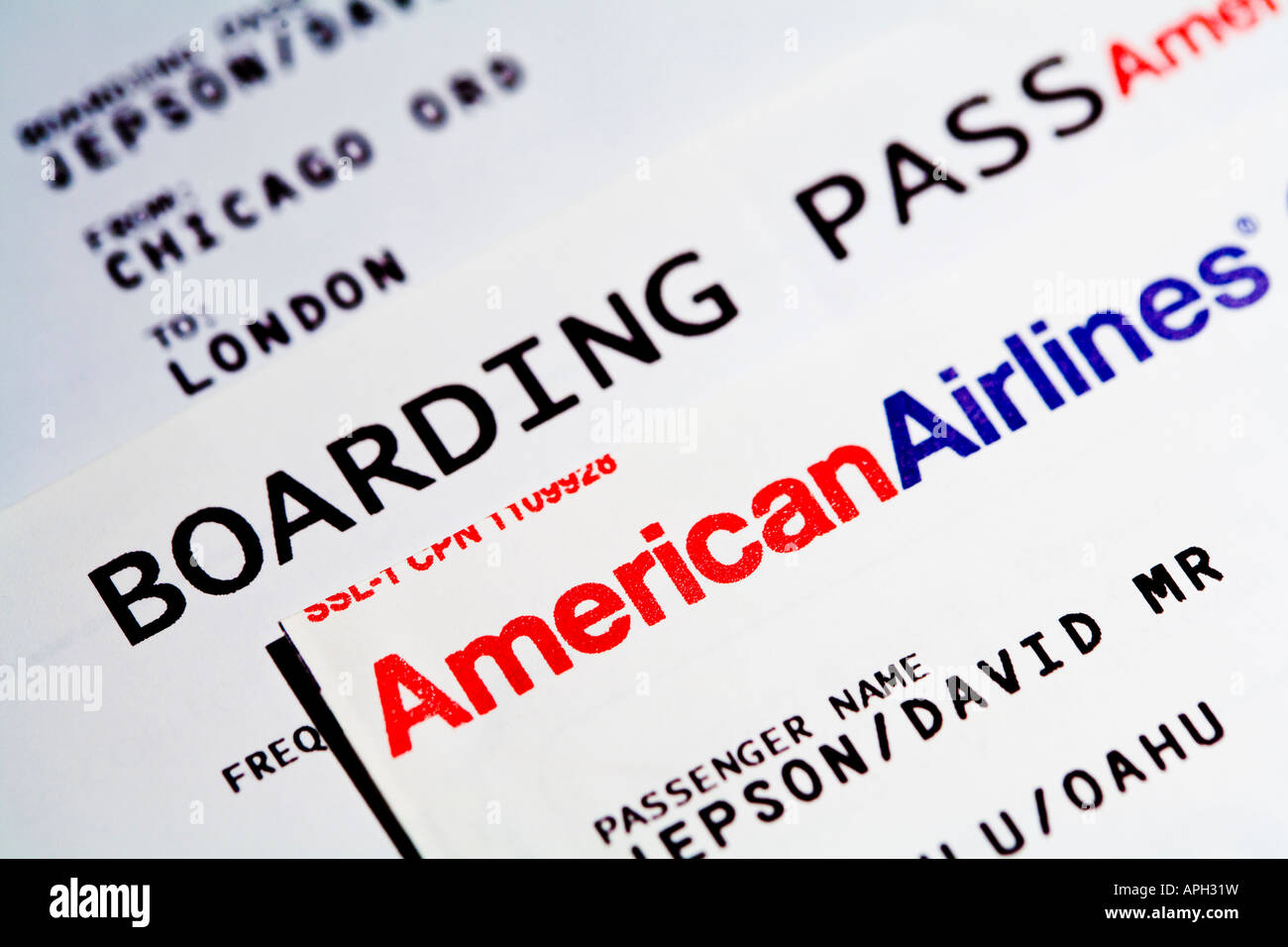 American Airlines Flight Boarding Passes Stock Photo