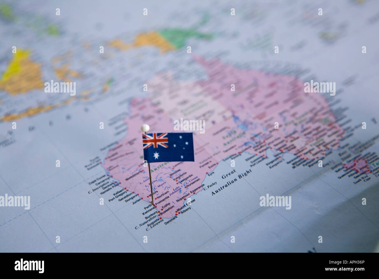 Flag pin placed on world map in perth australia stock photo flag pin placed on world map in perth australia gumiabroncs Gallery