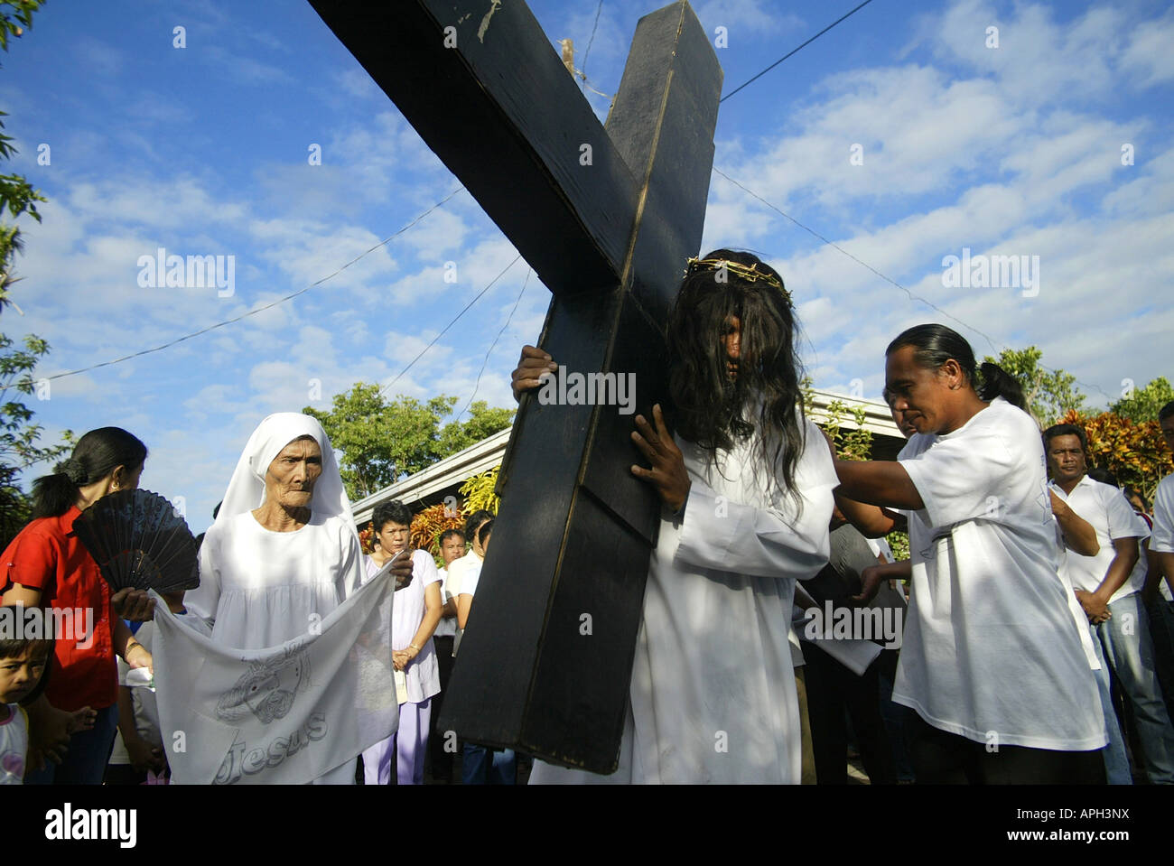 A Filipino portraying Jesus Christ leads a Good Friday procession in Mansalay, Oriental Mindoro, Philippines. Stock Photo