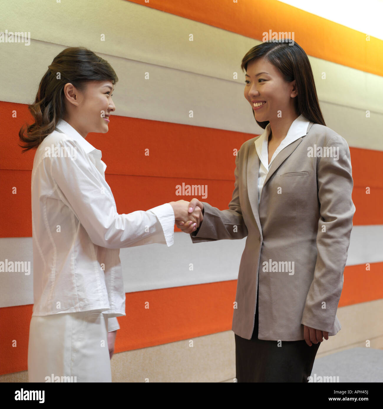 Two businesswomen shaking hands, side view - Stock Image