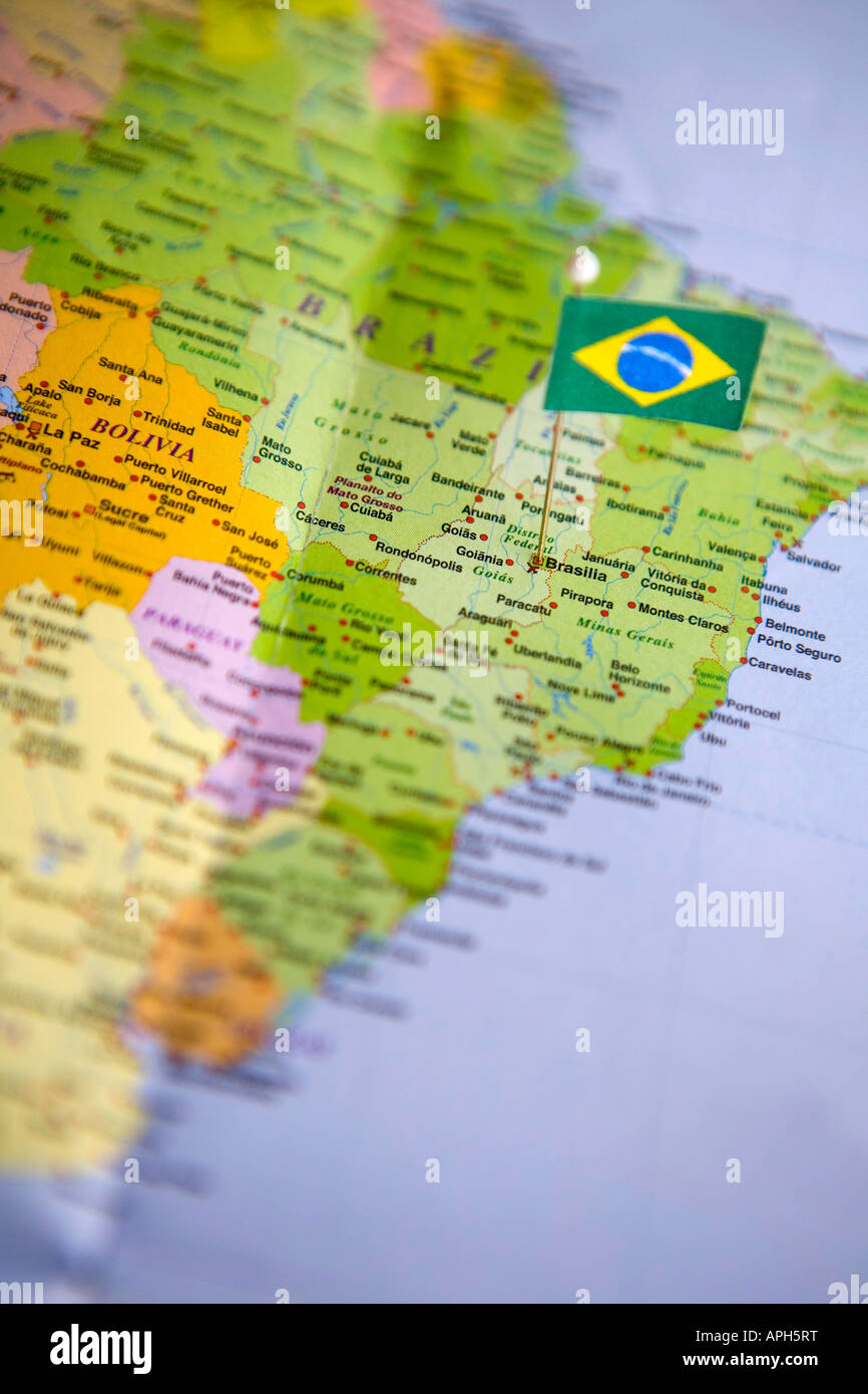 Flag Pin Placed On World Map In The Capital Of Brazil Brasilia Stock Photo Alamy