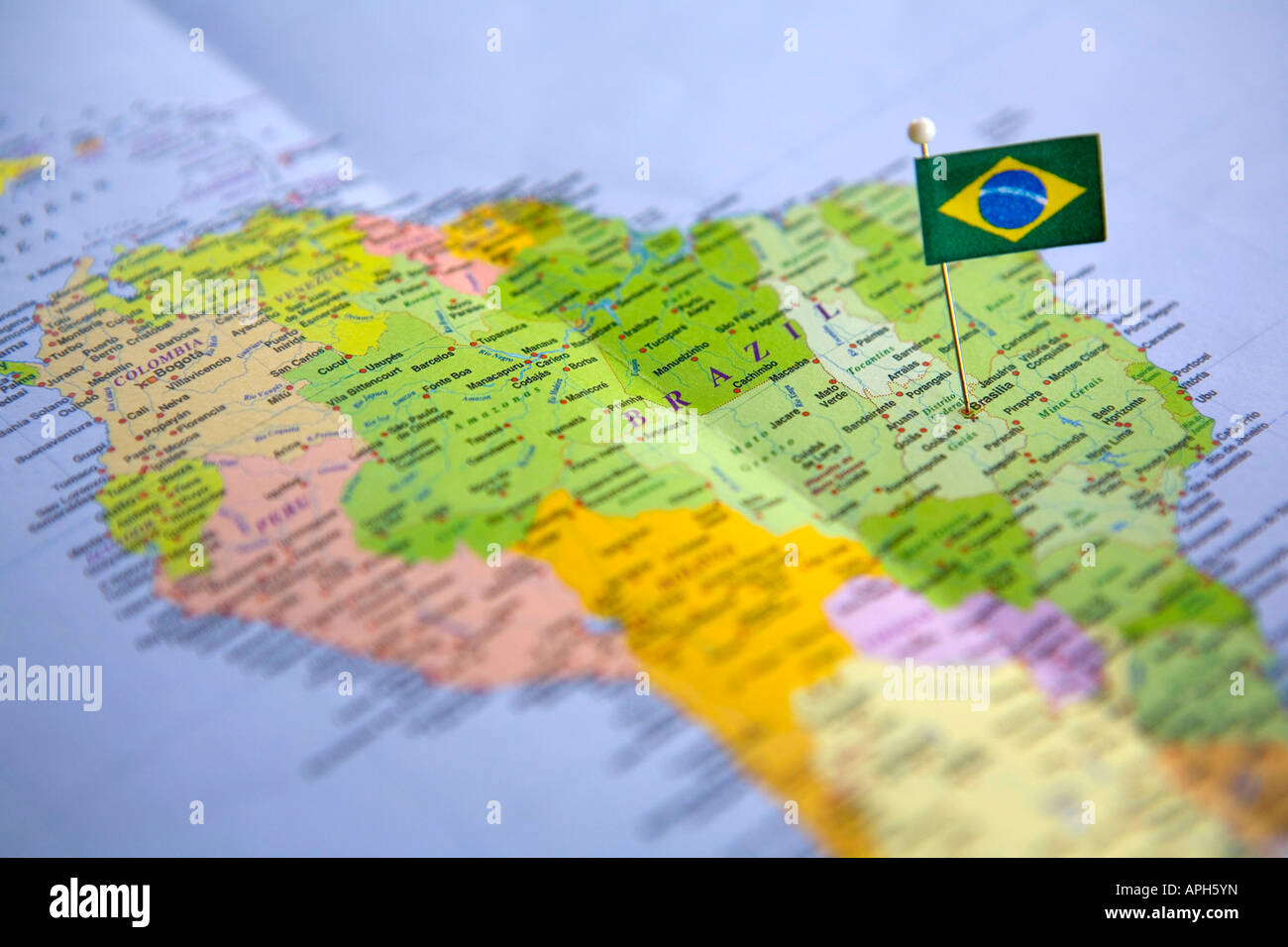Flag pin placed on world map in the capital of brazil brasilia stock flag pin placed on world map in the capital of brazil brasilia gumiabroncs Images