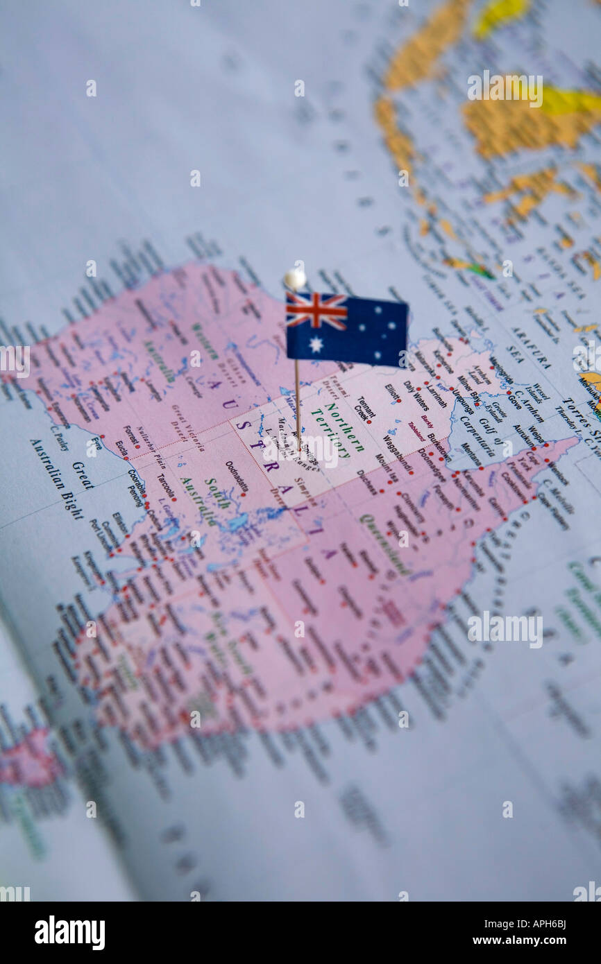 Flag pin placed on world map in alice springs australia stock photo flag pin placed on world map in alice springs australia gumiabroncs Images