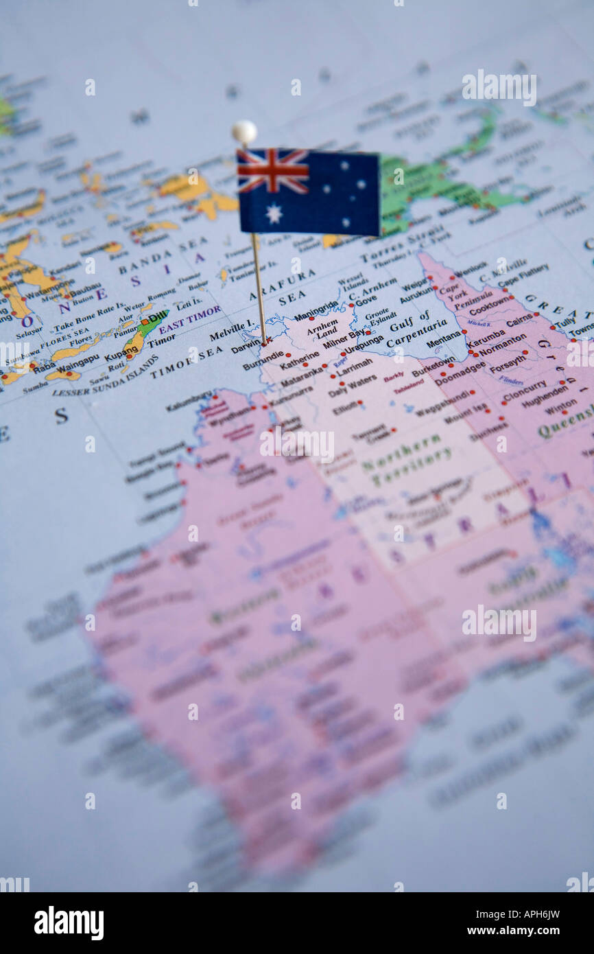 Flag pin placed on world map in darwin australia stock photo flag pin placed on world map in darwin australia gumiabroncs Images