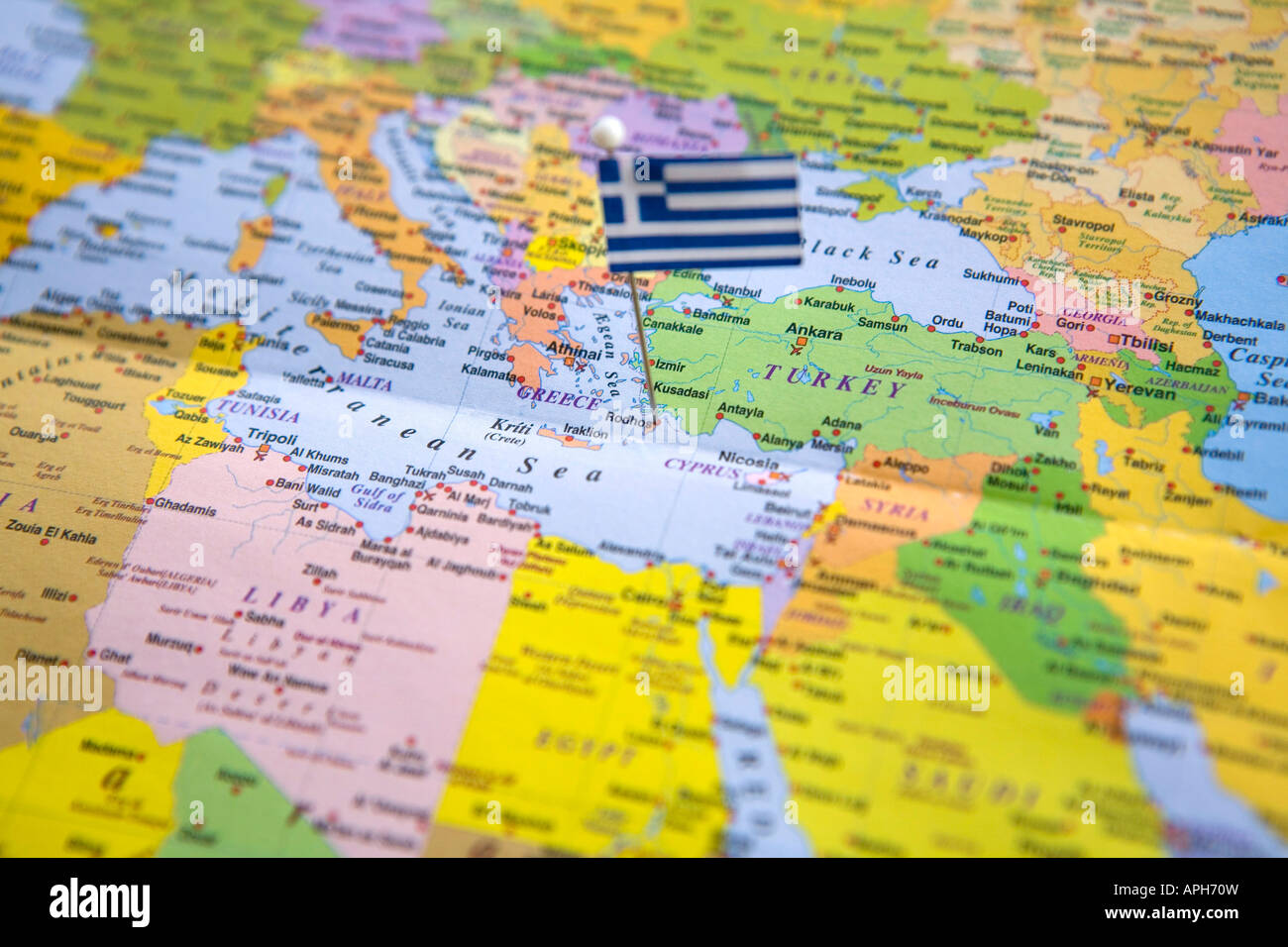 Flag pin placed on world map in rhodes island greece stock photo flag pin placed on world map in rhodes island greece gumiabroncs Images
