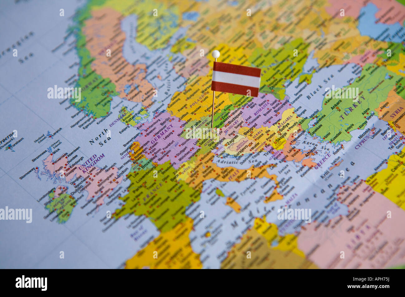 Flag pin placed on world map in the capital of austria vienna stock flag pin placed on world map in the capital of austria vienna gumiabroncs Choice Image