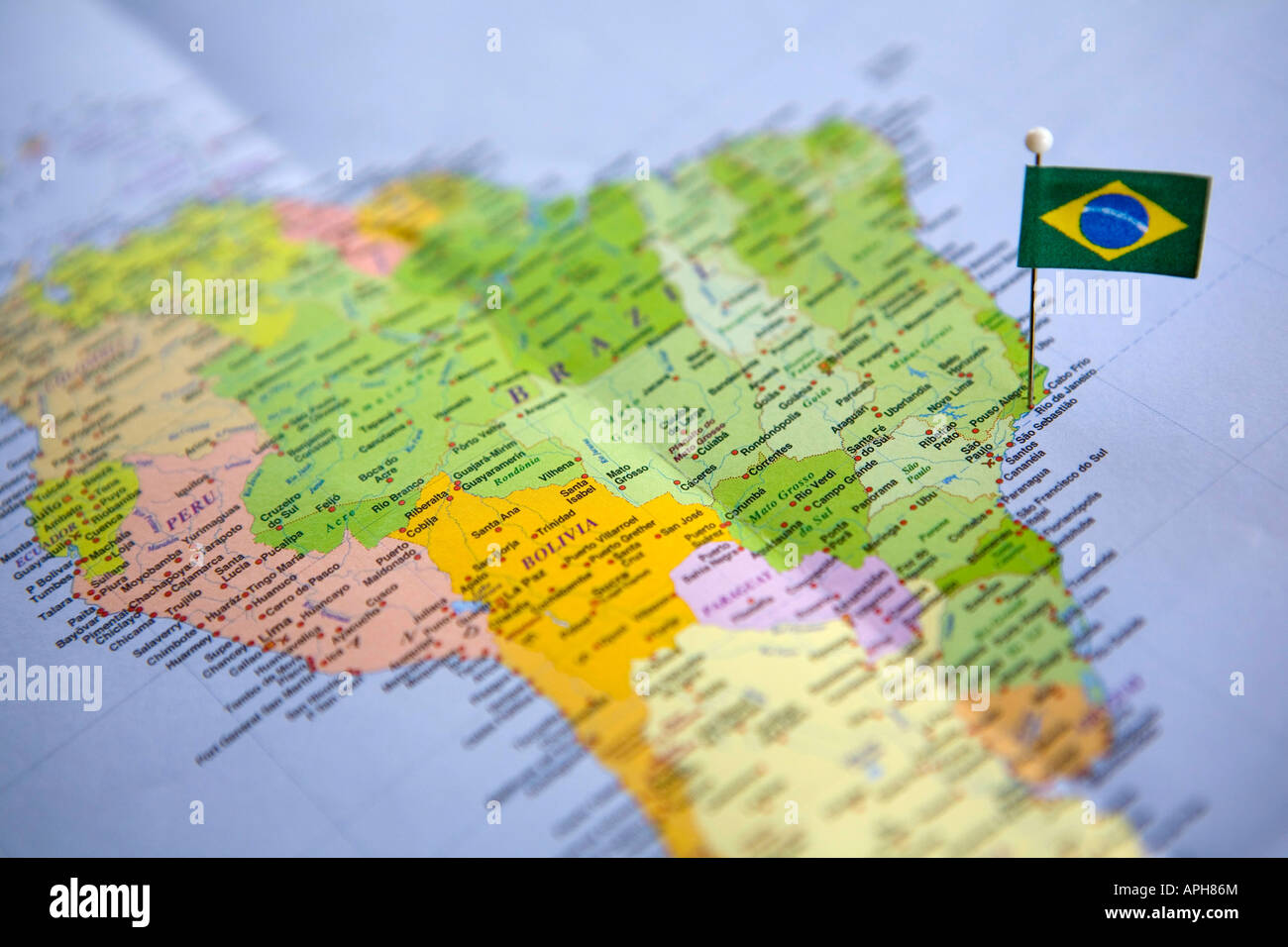 Flag pin placed on world map in rio de janeiro brazil stock photo flag pin placed on world map in rio de janeiro brazil gumiabroncs Gallery