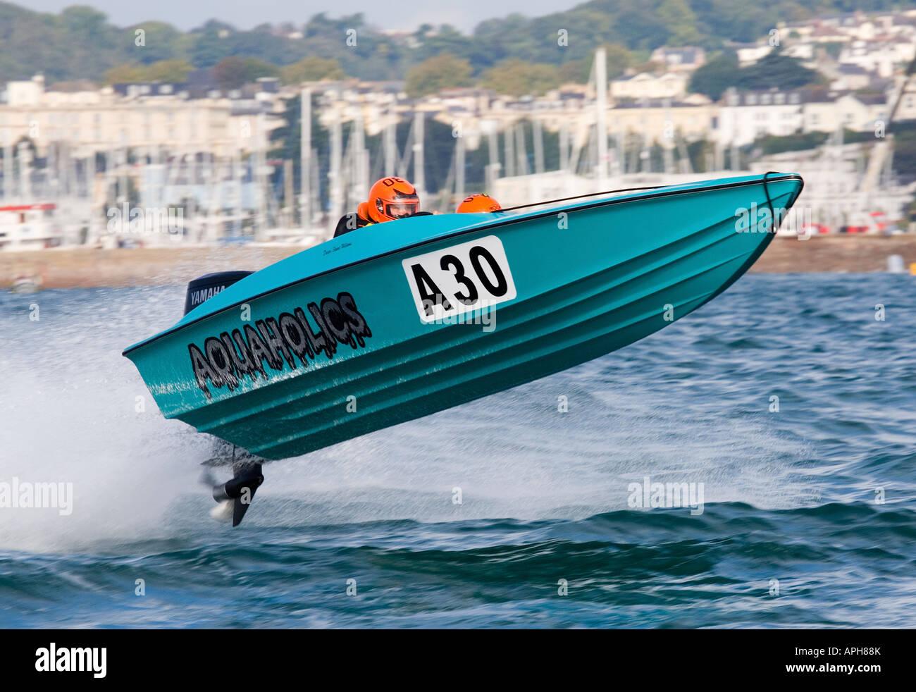 Offshore Circuit Racing Aquaholics No. A30 Racing at Torquay England - Stock Image