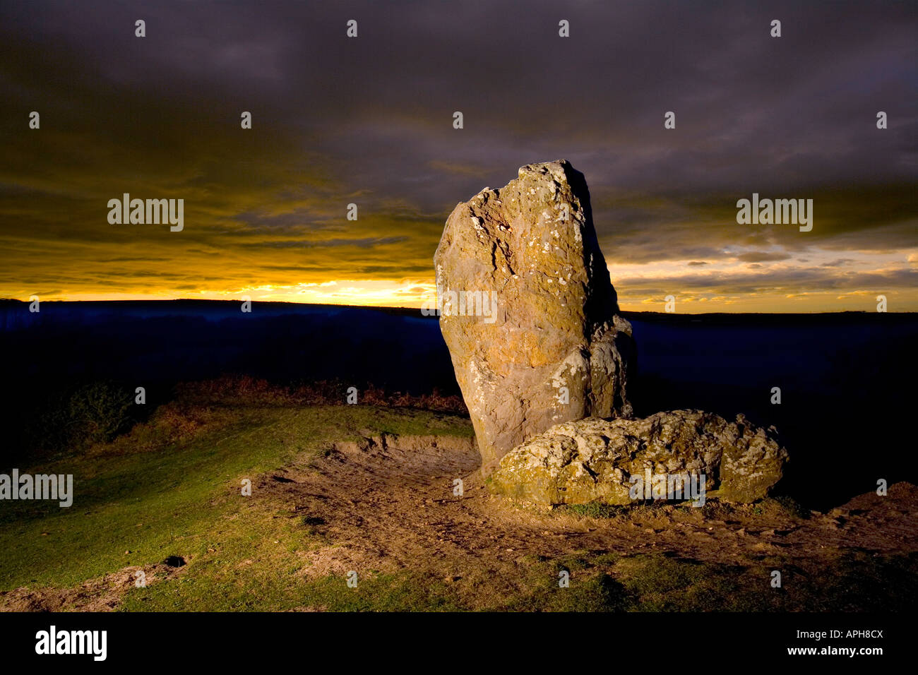 The longstone mottistone manor Isle of Wight England UK Great Britain - Stock Image
