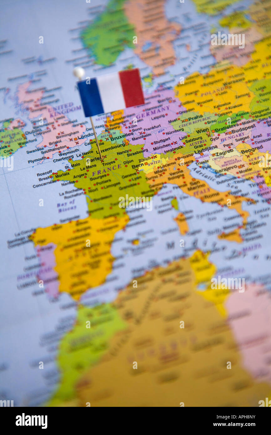 Flag Pin Placed on World Map in the Capital of France Paris Stock ...