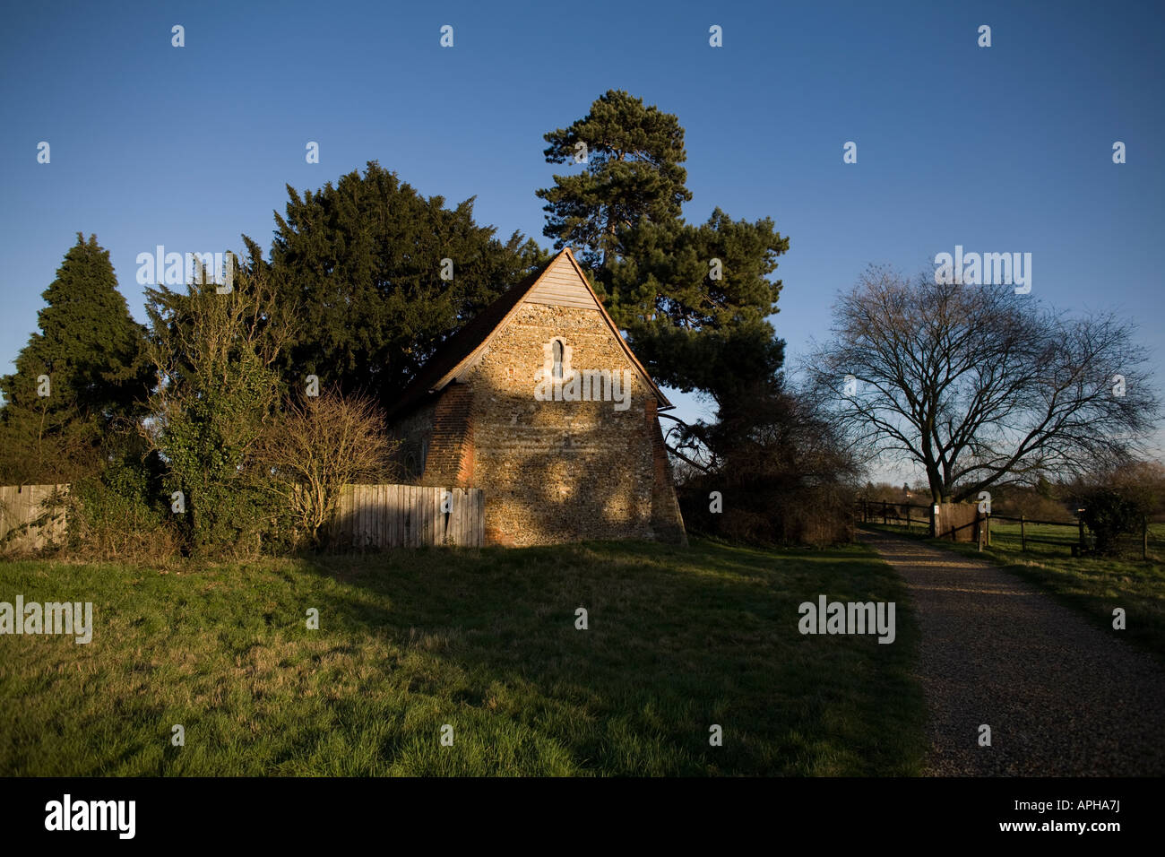 Harlowbury Chapel is the oldest building in Harlow, Essex, England dating from the 12th century from the Saxon period - Stock Image