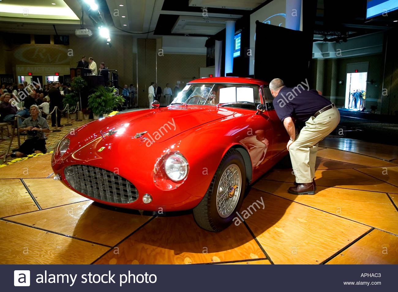 1953 Ferrari 250 MM Pinin Farina Competition Coupe on the auction block sold for 1430000 Dollars USA - Stock Image