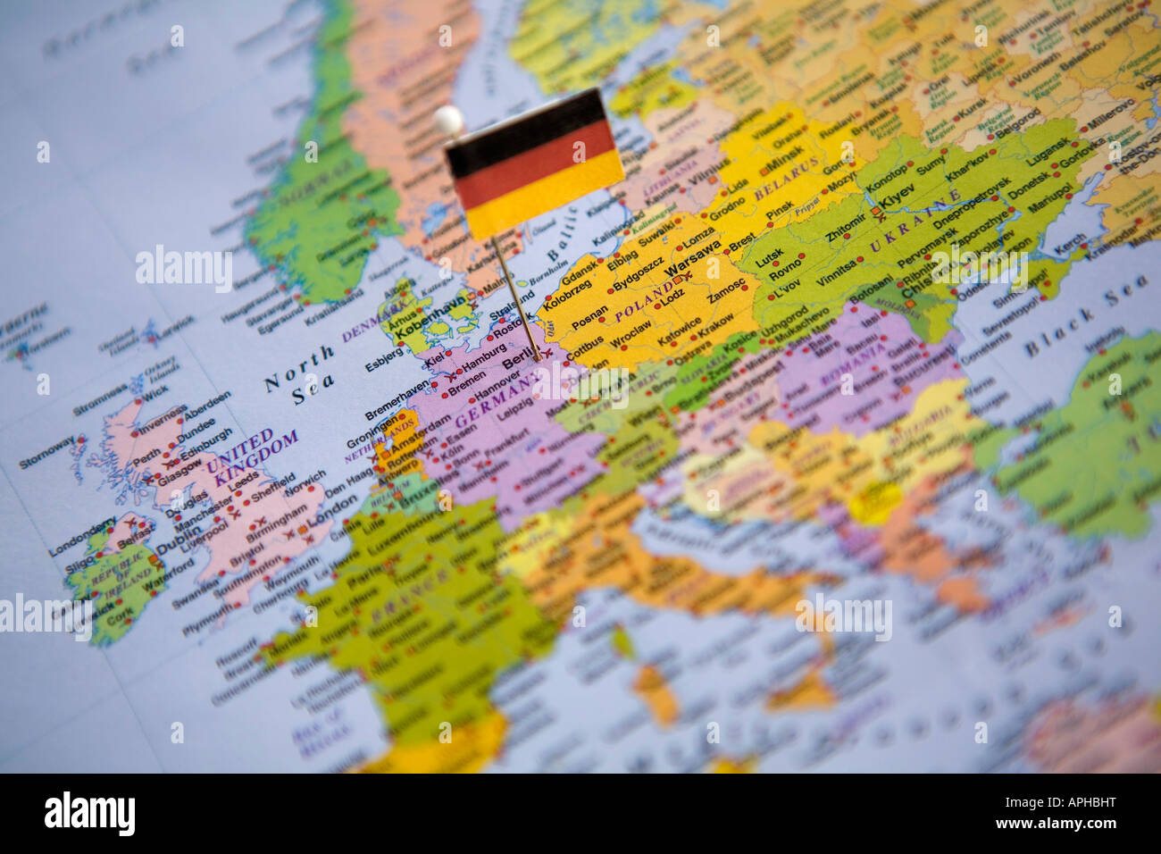 Flag Pin Placed on World Map in the Capital of Germany ...