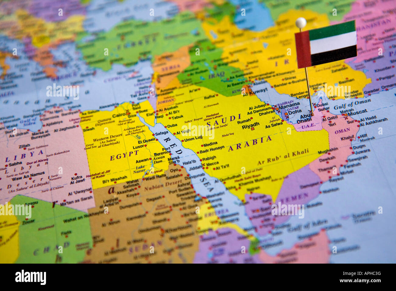 Flag Pin Placed On World Map In The Capital Of United Arab Emirates