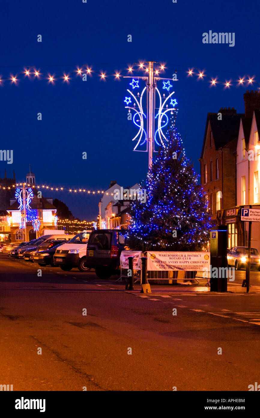 christmas street lights in malrborough high street wiltshire england uk stock image