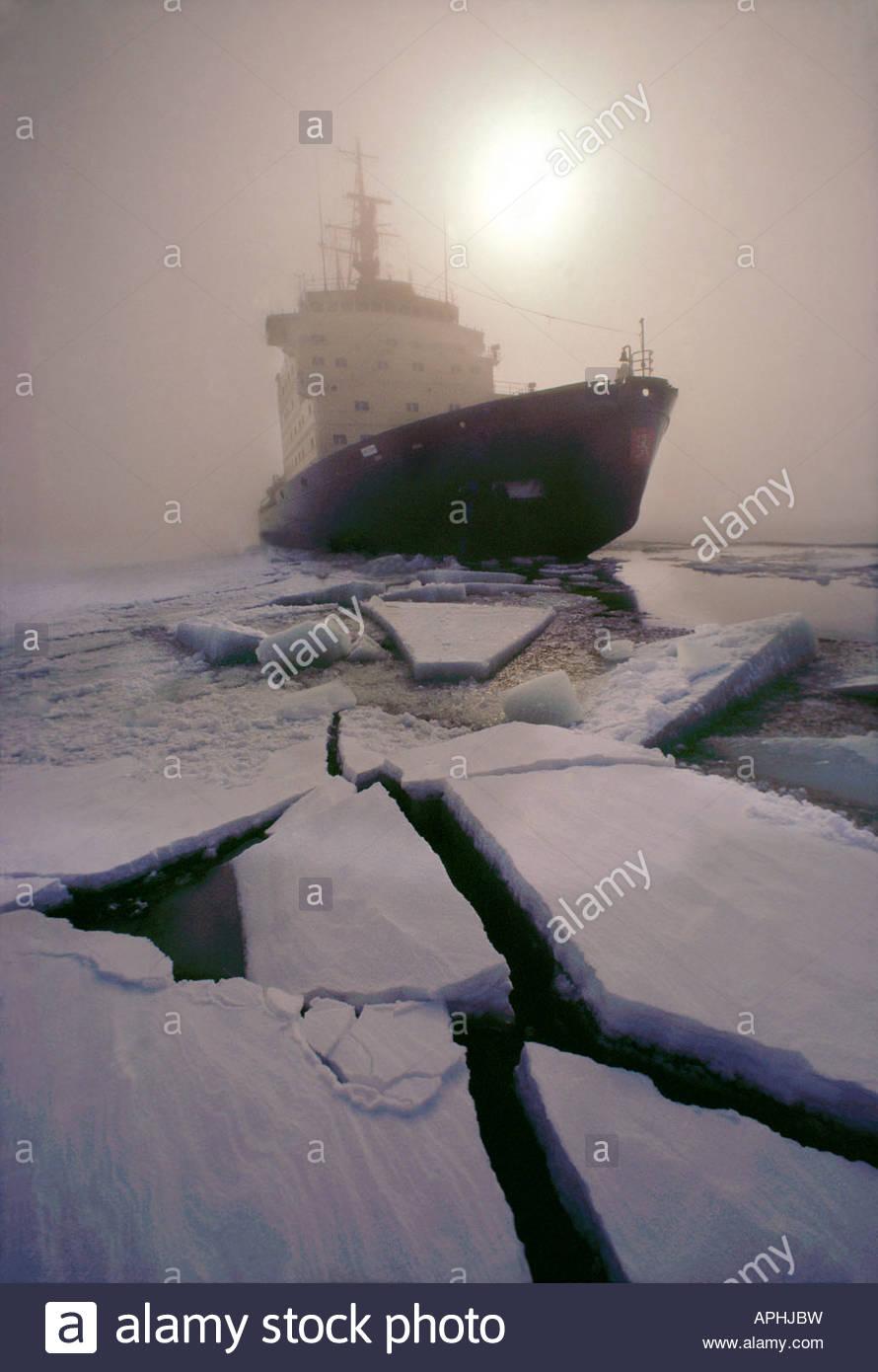 Finnish icebreaker Sisu breaking ice in the Gulf of Bothnia Northern Finland - Stock Image