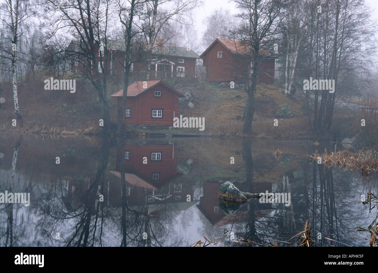 Houses by the lake - Stock Image