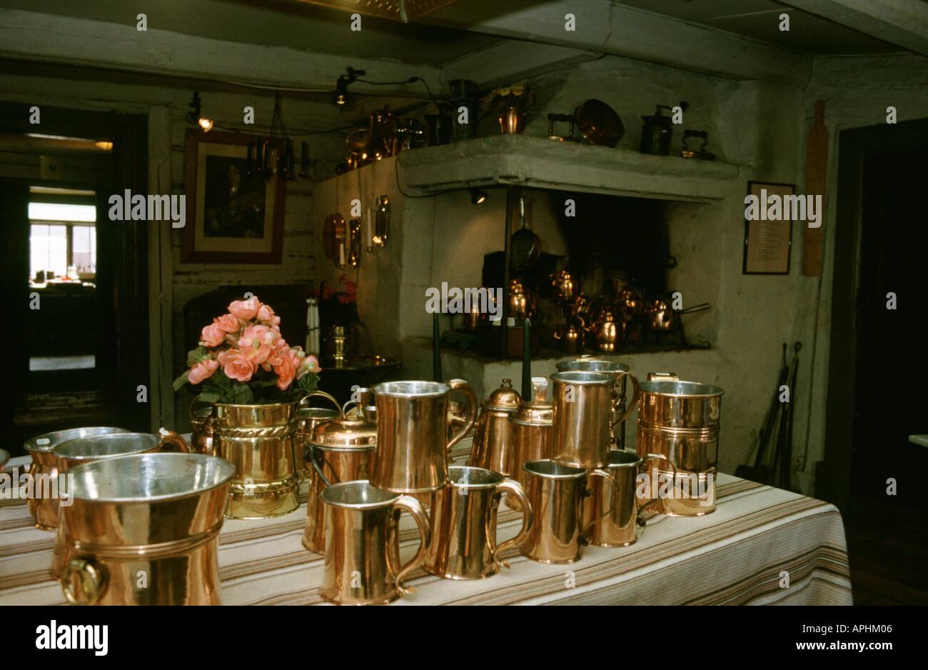 Copper pans - Stock Image
