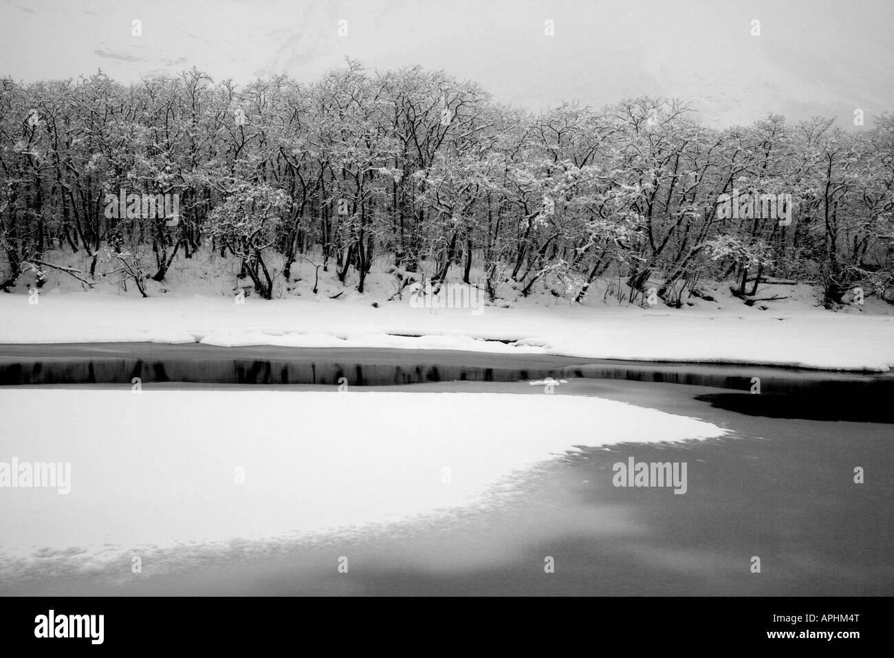 River Rauma after snowfall in the Romsdalen valley, Rauma kommune, Møre og Romsdal, Norway. - Stock Image