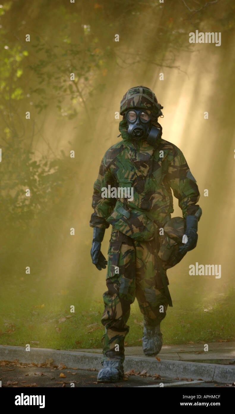 British soldiers during gas attack training exercise - Stock Image