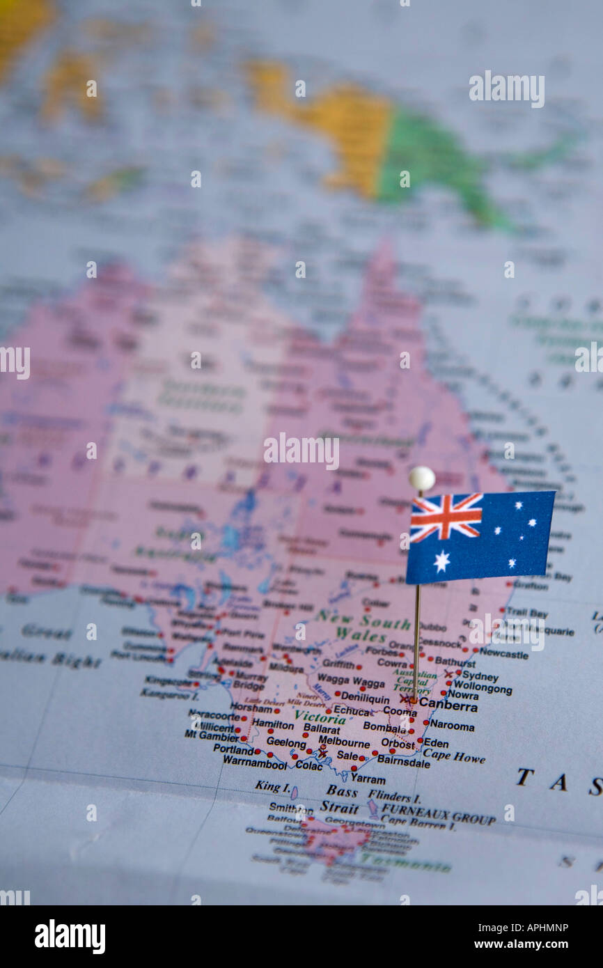 Flag Pin Placed On World Map In The Capital Of Australia Canberra