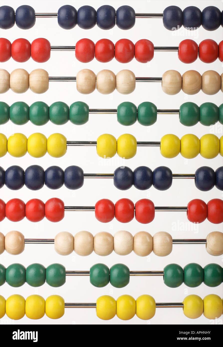 Abacus caclulator with colored beads - Stock Image