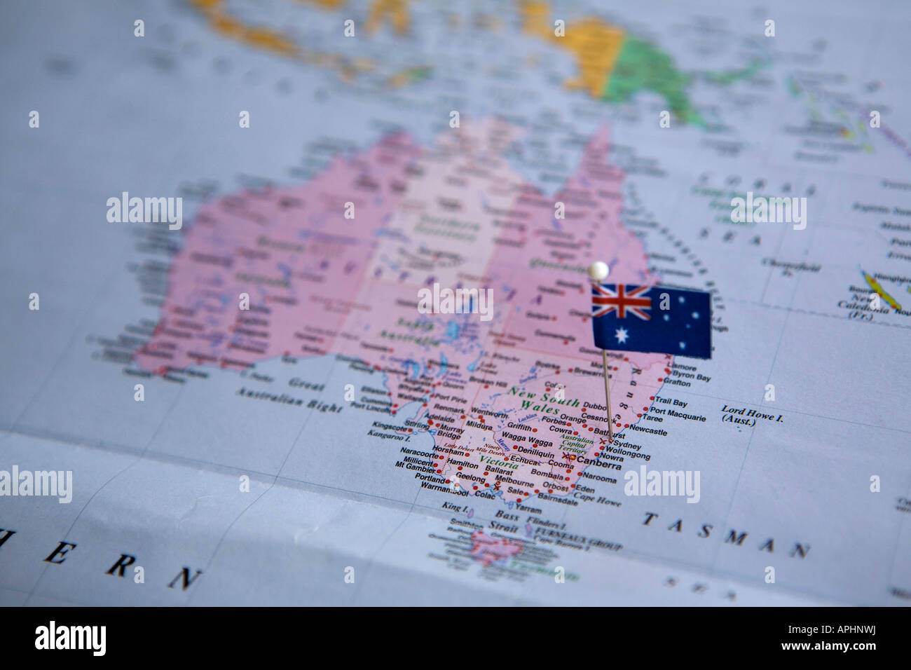 Sydney Australia World Map.Flag Pin Placed On World Map In Sydney Australia Stock Photo
