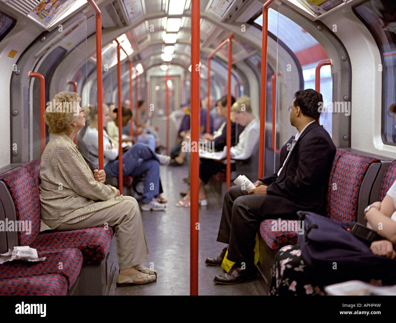 Tube Journey With People Travelling In London Stock Photo Alamy