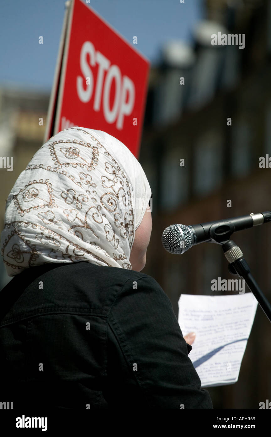 Speaker at solidarity gathering with the families of the dead and injured of 7 July 2005 bombings, London, UK - Stock Image