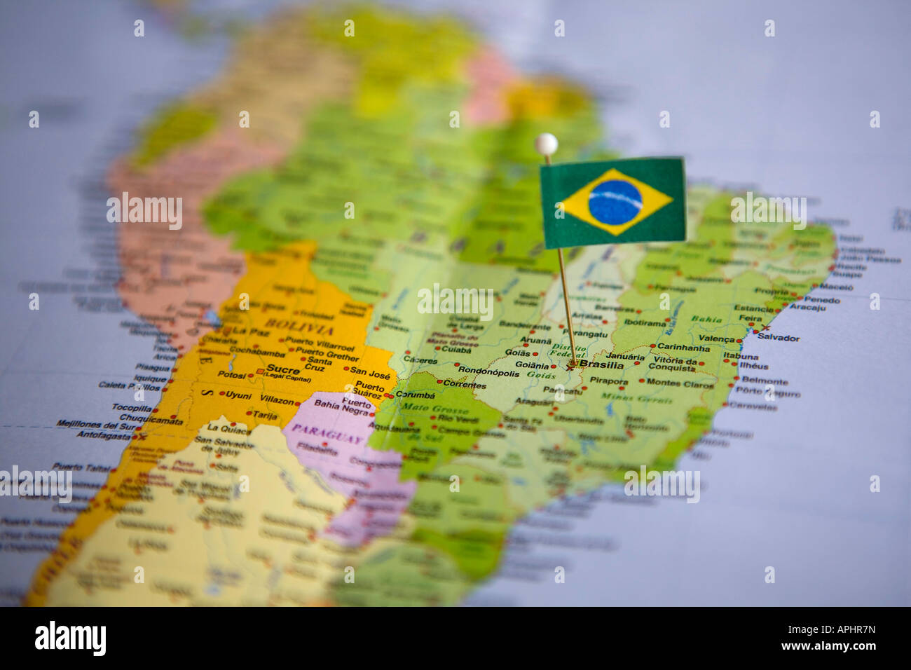Flag Pin Placed on World Map in the Capital of Brazil Brasilia
