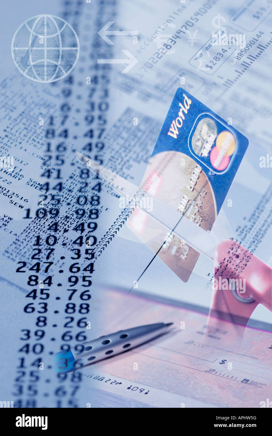 Concept photo of bills, debt and problems with personal finance leading to bankruptcy and cutting up credit card - Stock Image