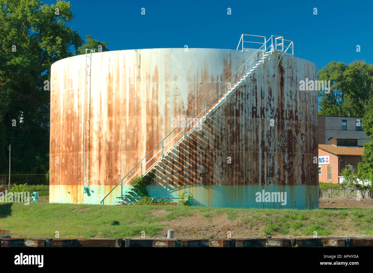 Rusty Oil Storage Tank On The Banks Of The Hudson River, Kingston, New York