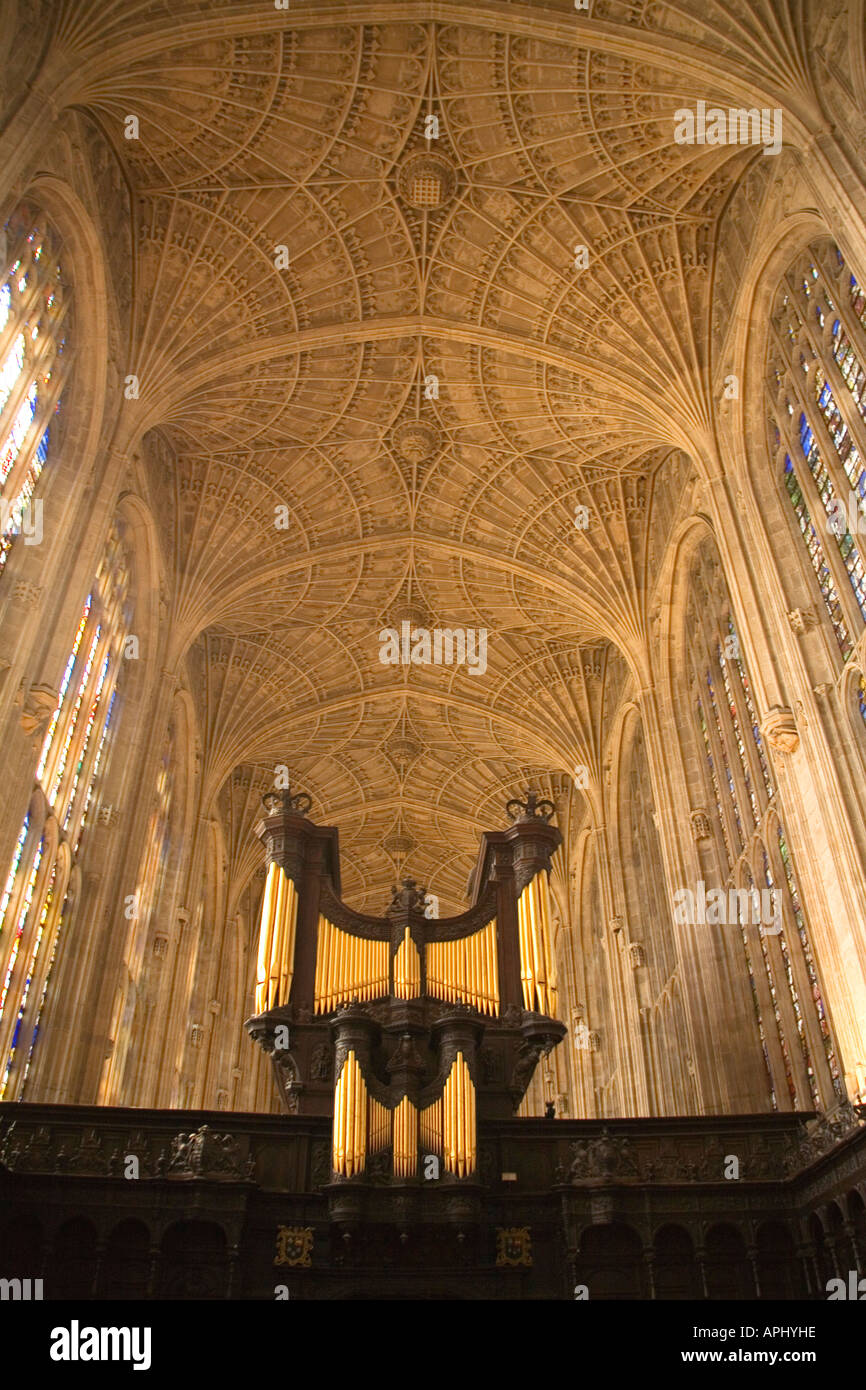 Kings King's College Chapel interior showing organ and vault ceiling Cambridge University Cambridgeshire East Anglia Stock Photo