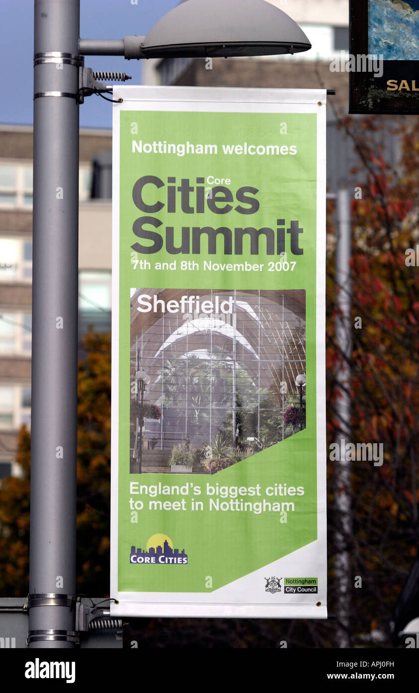 Core Cities Summit sign on Maid marian way.   Nottingham Welcomes Core Cities Summit, Maid marian Way, Nottingham, - Stock Image