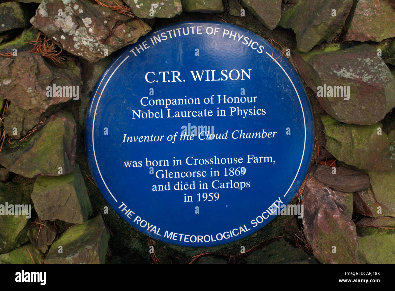 Blue plaque commemorating the achievements of the Physicist C.T.R. Wilson - Stock Image