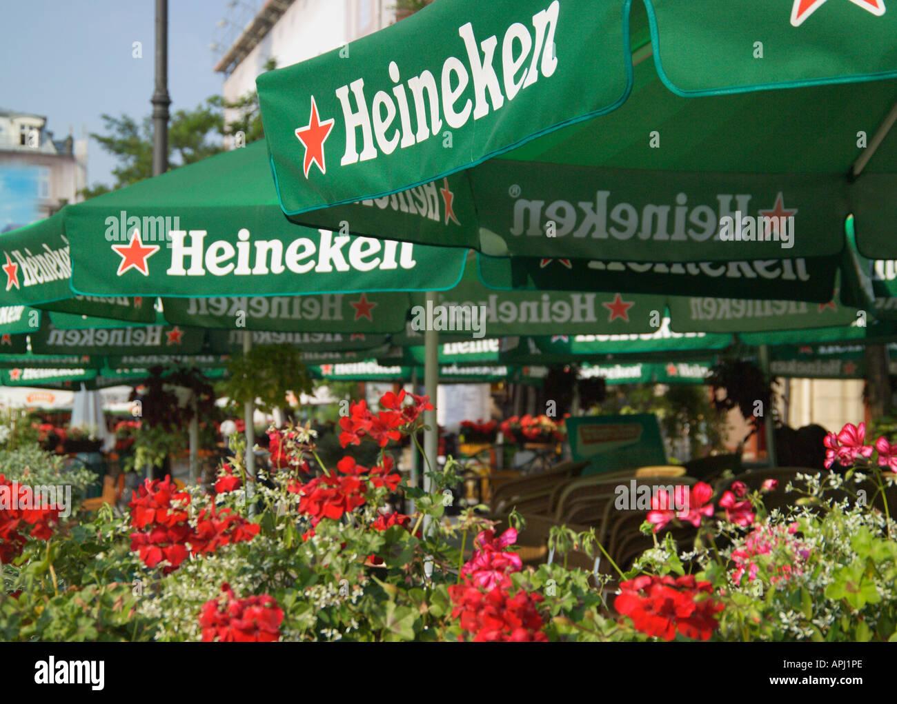 Heineken Parasol cafe Rynek Glowny Krakow Poland Stock Photo