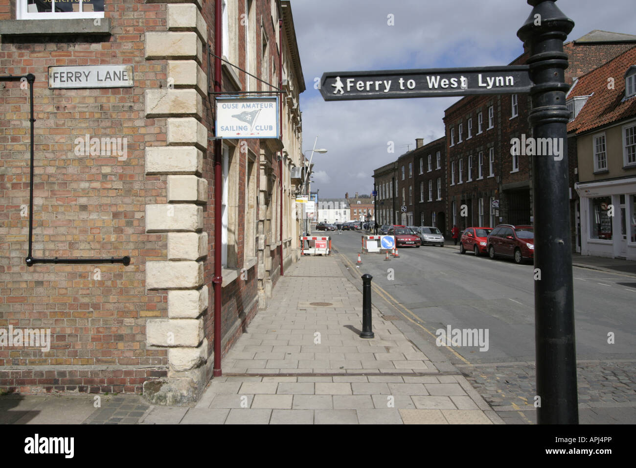 ferry lane signpost kings lynn norfolk town east anglia england uk gb Stock Photo