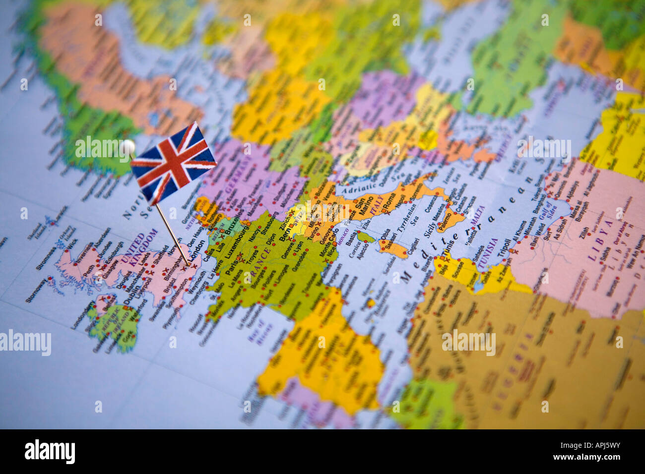 Flag pin placed on world map in the capital of england london stock flag pin placed on world map in the capital of england london gumiabroncs Choice Image