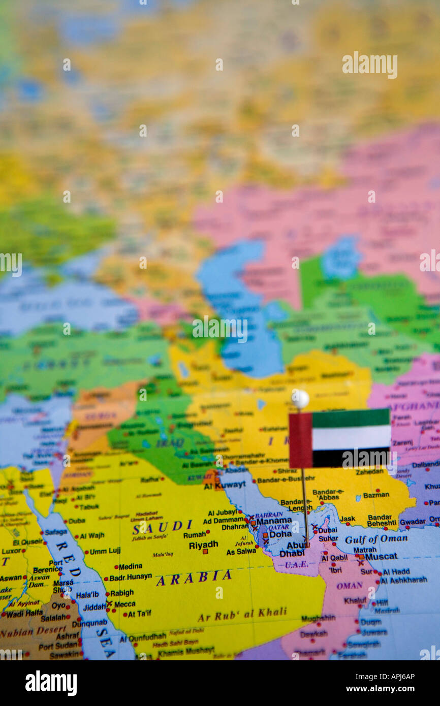 Picture of: Flag Pin Placed On World Map In The Capital Of United Arab Emirates Stock Photo Alamy
