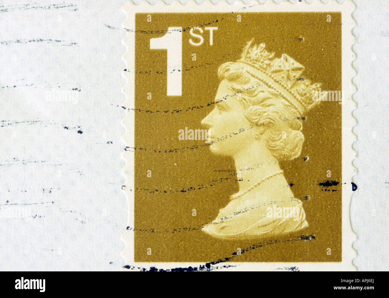 Close Up Of 1st Class Stamp in the uk - Stock Image