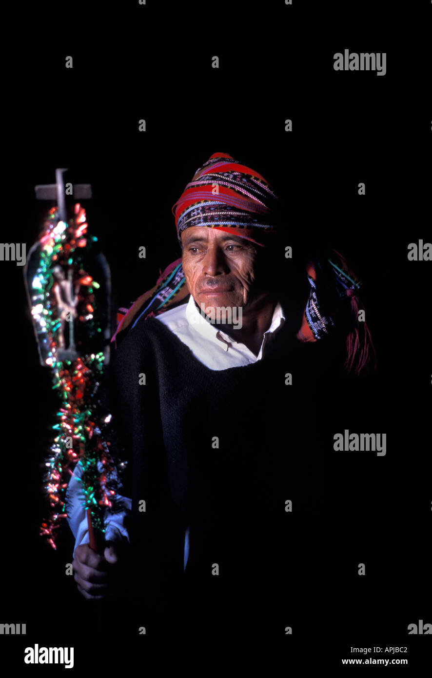 Portrait of a religious elder with his staff of office Santiago Atitlan Dept of Solola Guatemala Central America - Stock Image