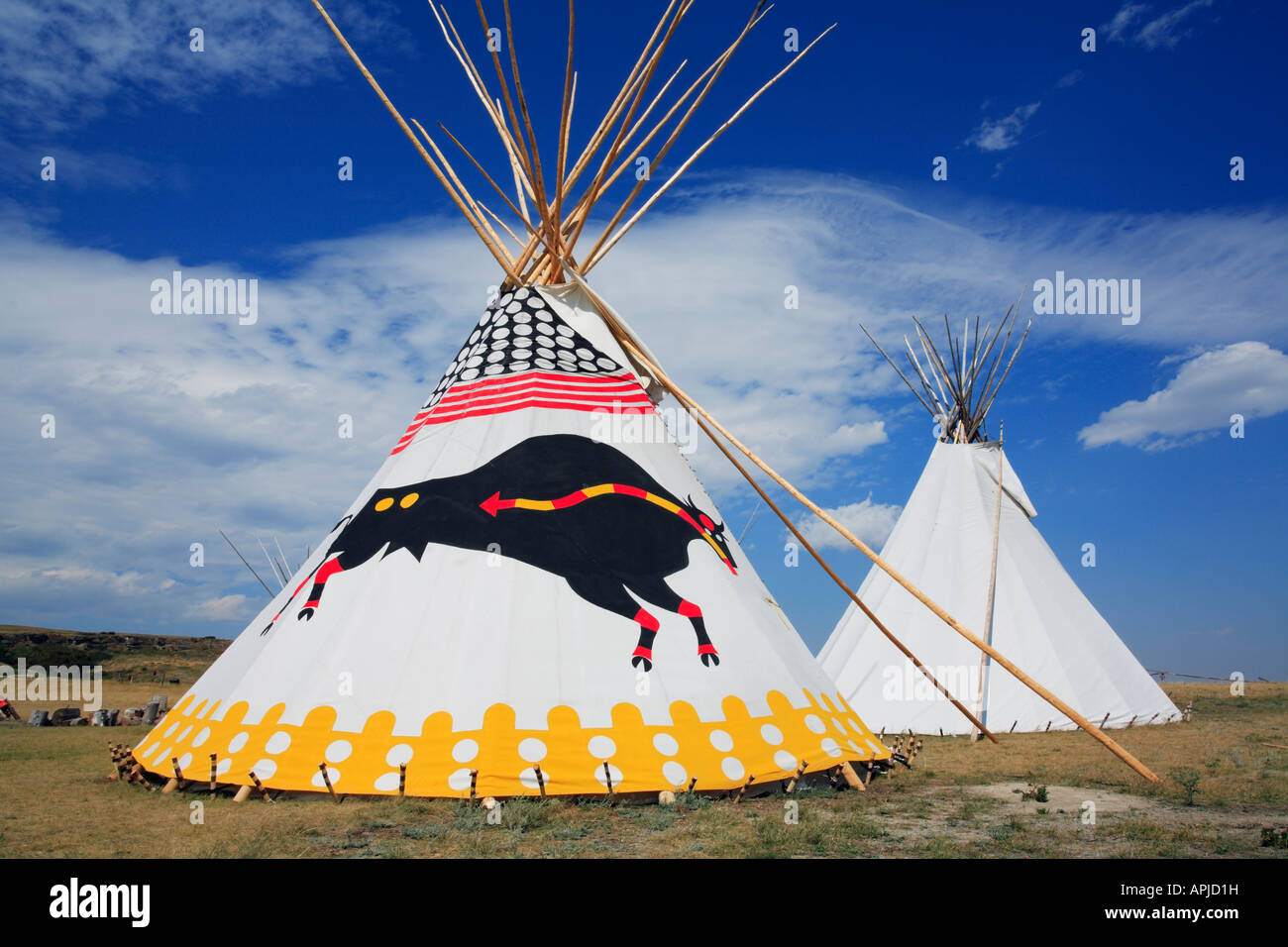 First Nations or Plains Indian traditional native tipis or teepees for lodging and housing - Stock Image