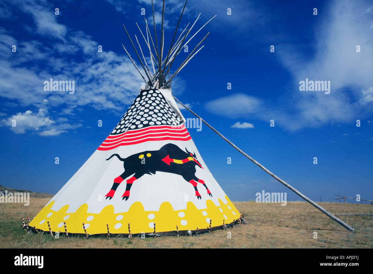 American indian tipi or teepee at Head Smashed in Buffalo Jump National Historic Site in Canada - Stock Image
